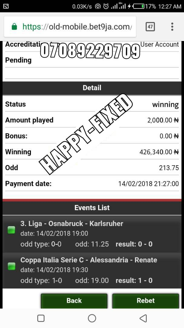 Check here for today's fixed game @Bet9ja (100% Guaranteed
