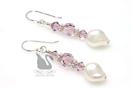 June Birthstone: Crystal Stack Pearl Twist Earrings (EBP105)