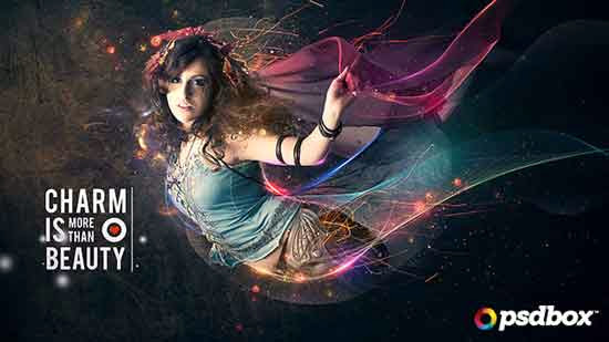 Beautiful lady with flowing light effects to Photoshop Tutorial