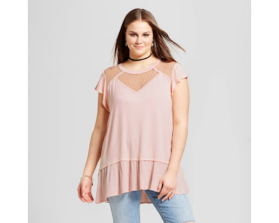 d0cda8a9e45 Target currently have this Xhilaration Women s Plus Size Knit Peplum T-Shirt  with Lace on clearance for  12.48 (Reg.  24.99). Plus