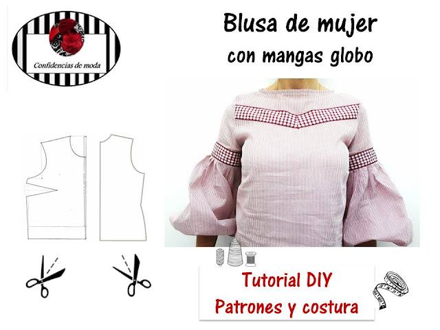 DIY. Tutorial patrones y costura. Blusa de mujer con mangas globo ...