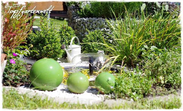 Gartenblog Topfgartenwelt Topfgarten Miniteich: mit Springbrunnen