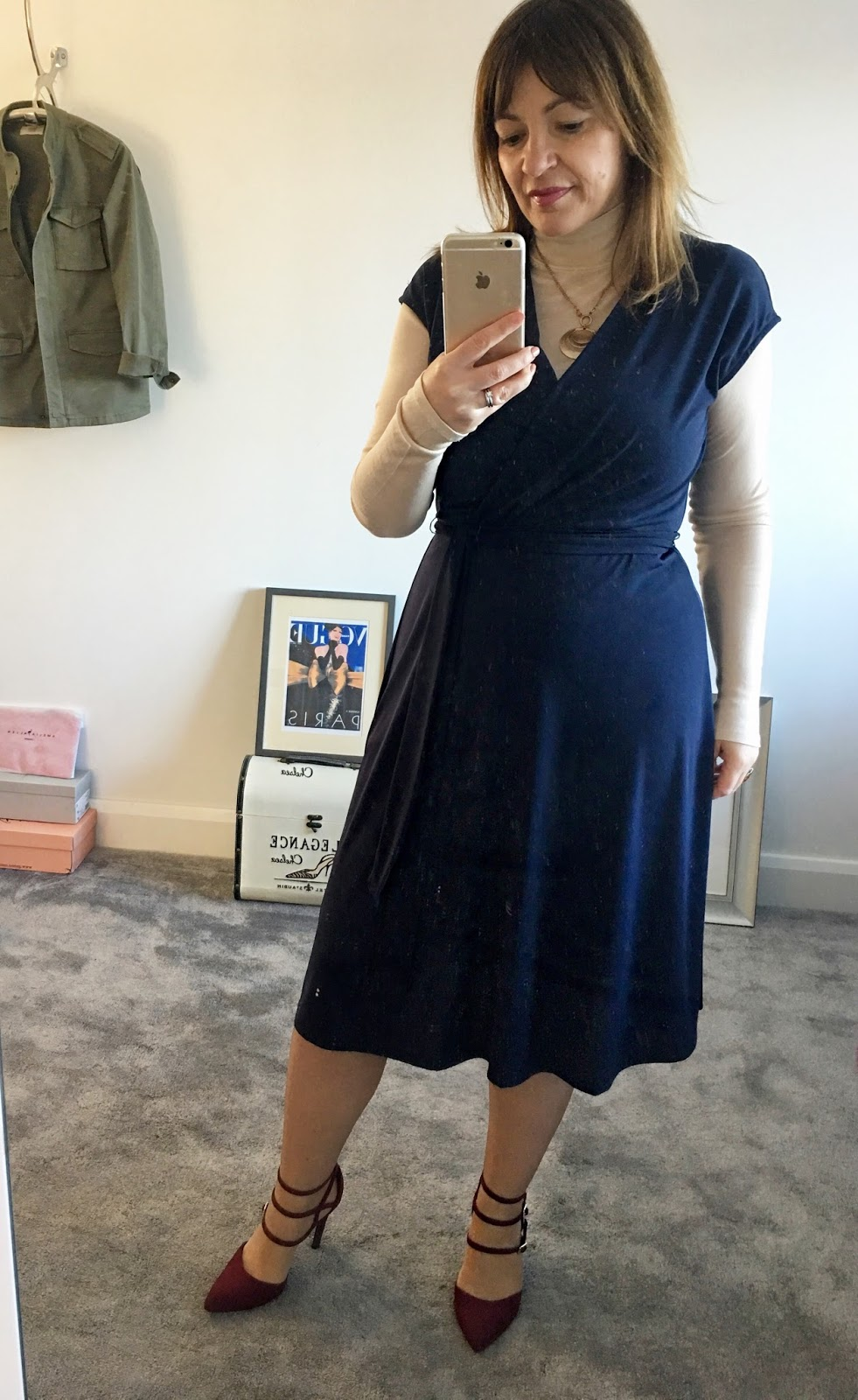 Blue dress layering
