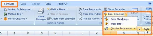 Cara Menemukan Circular Reference Excel 2007