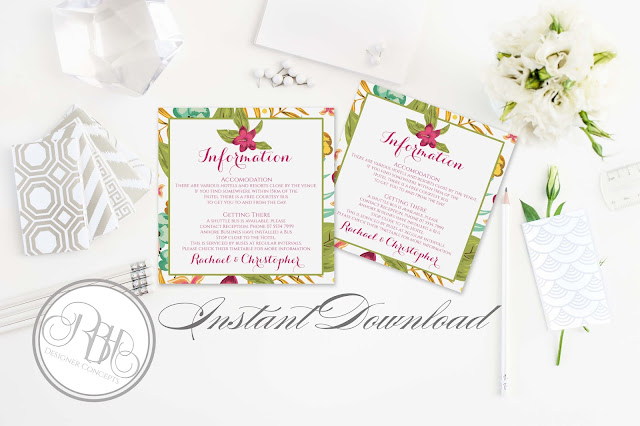 tropical watercolour information card pink hibiscus-island wedding-by rbh designer concepts