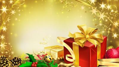 Achtergrond met Cadeau's, hulst en sterren