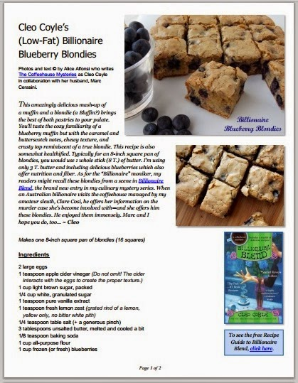 http://www.coffeehousemystery.com/userfiles/file/Cleo-Coyle-Billionaire-Blueberry-Blondies.pdf