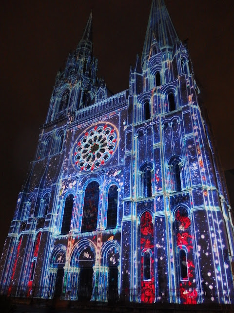 The Royal Doorway, illuminated for Chartres en Lumieres