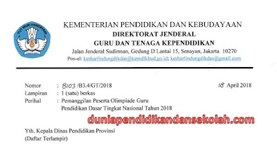 Daftar Nama Juara Olimpiade Guru Nasional (OGN) Tingkat Provinsi Tahun 2018 Untuk Jenjang SD dan SMP Lengkap