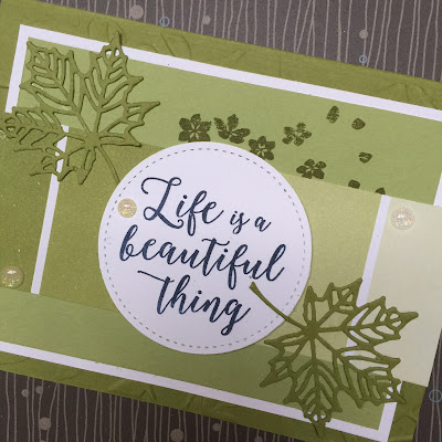 DIe used to create the detailed leaves are from the Seasonal Layers Thinlit DIes from Stampin' Up!