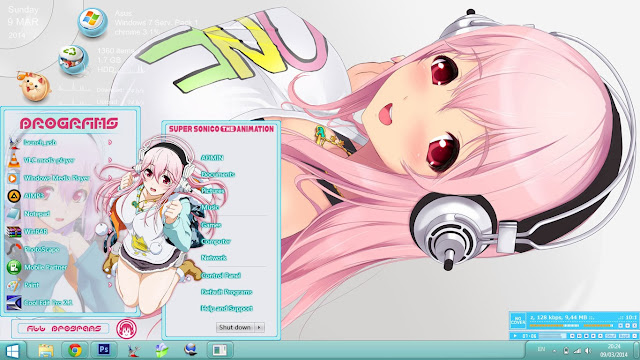 Windows 7 Theme Super Sonico Animation by Bashkara