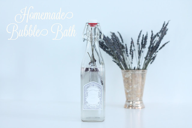 homemade bubble bath recipe including free printable labels via www.julieblanner.com