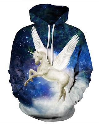 Long Sleeve Galaxy Unicorn Wings Pattern 3D Painted Hoodie