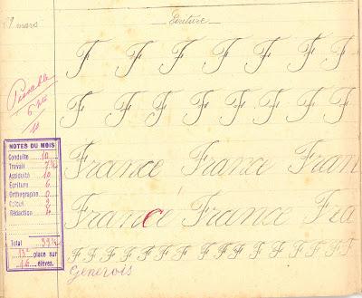 Page d'écriture, cahier de devoirs mensuels,1908 (collection musée)