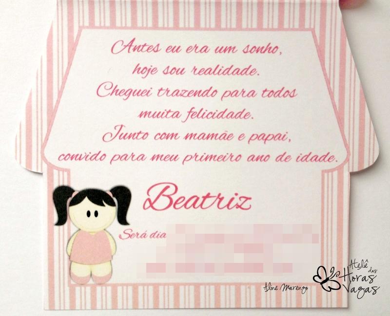 Ateliê Das Horas Vagas Aline Barbosa Convite Casinha De Boneca