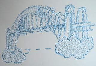 Il·lustració de Mercè Espiell del llibre: Un Pont de versos = Un puente de versos = A bridge of verses = Enn brug van verzen per Teresa Grau Ros