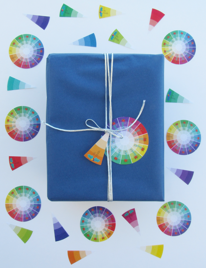 Free color wheel inspired Christmas gift tags, holidays, flowers, color love, gift giving, wrapping