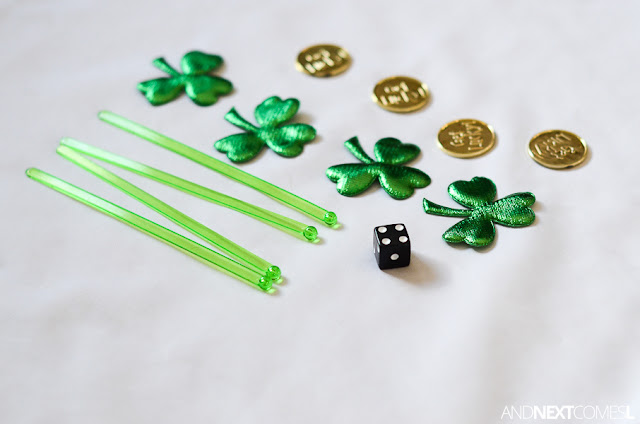 Preschool St. Patrick's Day math tray from And Next Comes L