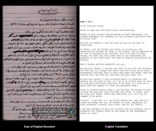 Osama Bin Laden Letter To His Saudi Dad Thanking Him For Teaching