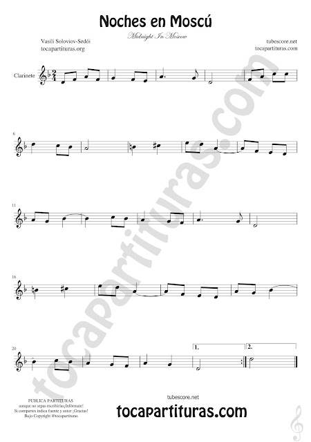 Clarinete Partitura de Noches en Moscú Sheet Music for Clarinet Midnight In Moscow