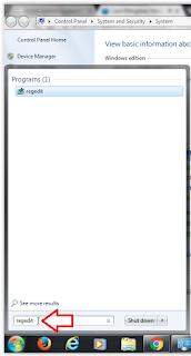 Gambar menu input regedit