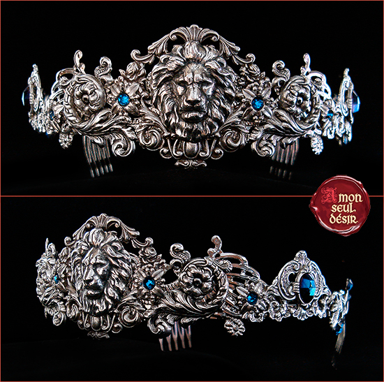 Crown Lion Leo Silver Aslan Jewelry Medieval Renaissance Circlet Lannister Game of Thrones Couronne Médiévale Argent Bleu