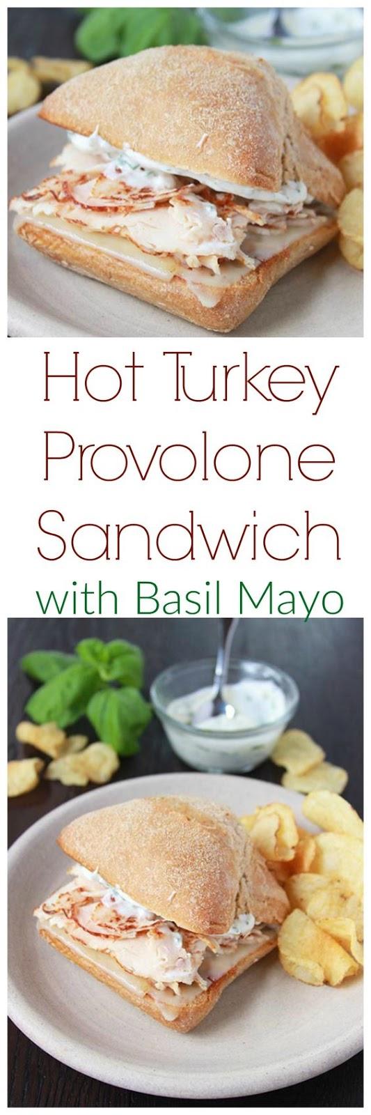 Hot Turkey Provolone Sandwich with Basil Mayo