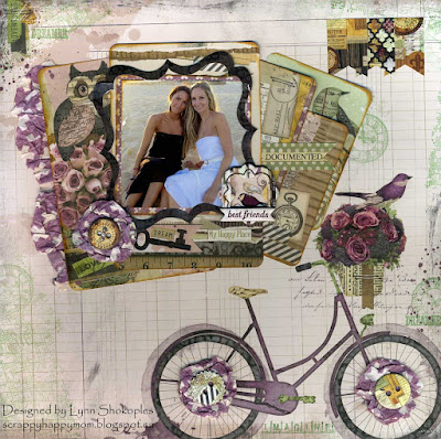 Best Friends Layout for BoBunny by Lynn Shokoples using the Beautiful Dreamer collection and Transparent Gel