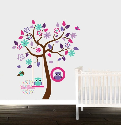 Vinilo decorativo infantil arbol buhos cdm vinilos for Foto vinilos decorativos pared