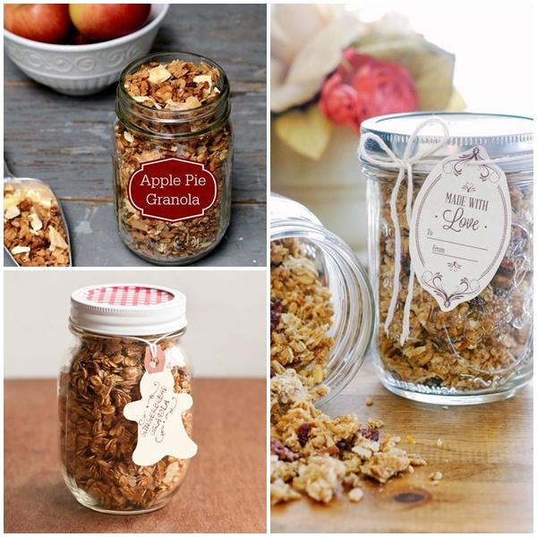 Granola to mieszanka płatków zbożowych z ulubionymi dodatkami w postaci orzechów, suszonych owoców, pestek dyni, pestek słonecznika, siemienia lnianego, sezamu i cukru (lub miodu)  upieczona do chrupkości. Granola to zdrowa propozycja na pożywne śniadanie, którą można zrobić samodzielnie i, co ważne, niewielkim kosztem. Jest bardzo prosta do zrobienia, dużo zdrowsza i smaczniejsza niż taka sklepowa. Umieszczona w szklanym pojemniku bardzo ładnie się prezentuje. Po przepis odsyłam na Kwestię Smaku i Moje Wypieki.
