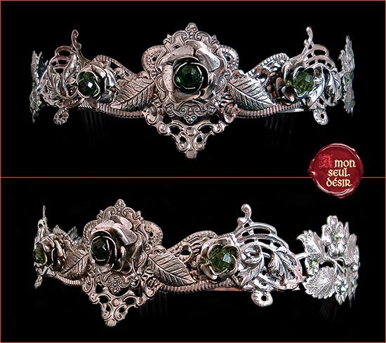 couronne argent floral fleurs dans les cheveux roses mariage elfique féerique