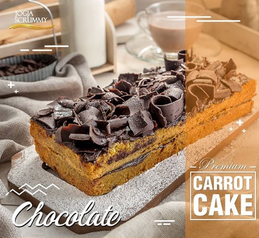 premium carrot cake chocolate jogja scrummy