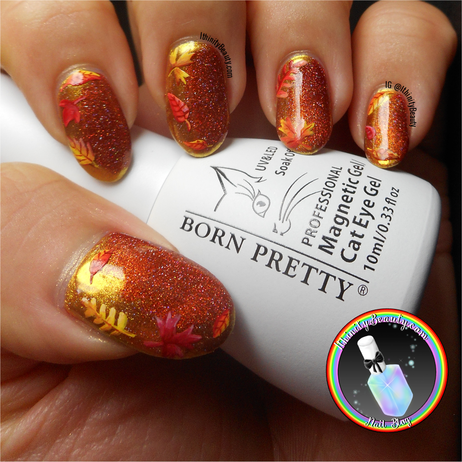 Autumn Leaves With Gold Mirror Chrome Magnetic Nail Polish