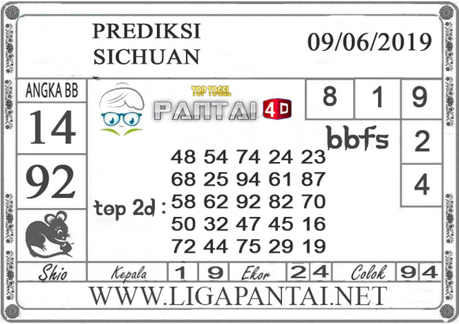 """Prediksi Togel """"SICHUAN"""" PANTAI4D 09 JUNI 2019"""