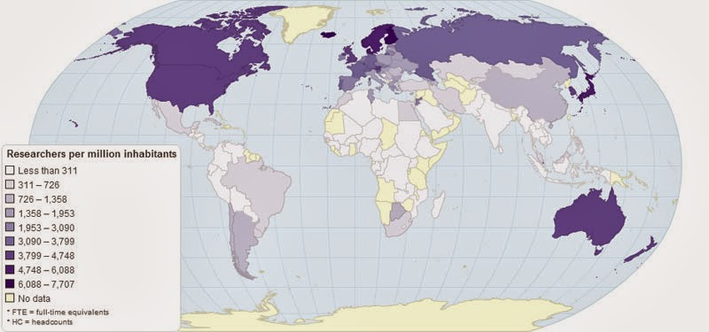 40 Maps That Will Help You Make Sense of the World - The Number of Researchers per Million Inhabitants