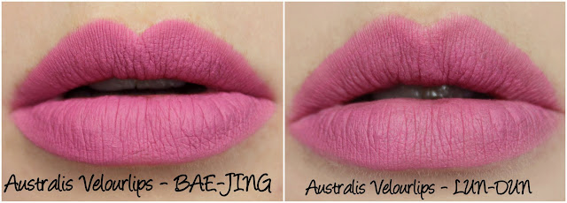 Australis Velourlips Matte Lip Cream - BAE-JING LUN-DUN comparison Swatches & Review + GIVEAWAY!