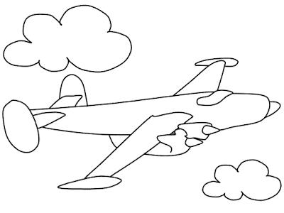 Gambar Mewarnai Pesawat Terbang - 7