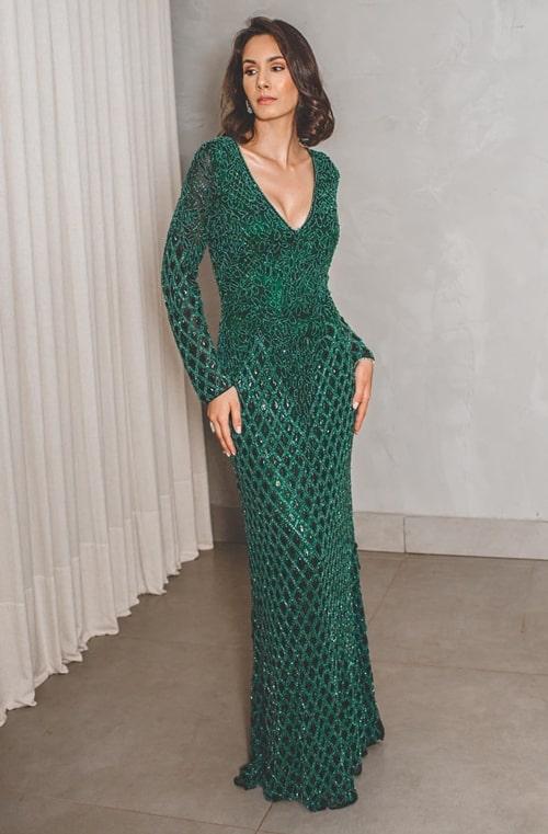 vestido longo verde manga longa