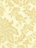 Elizabeth Neutral Faux Flocked retro modern damask wallpaper: GB17528E.