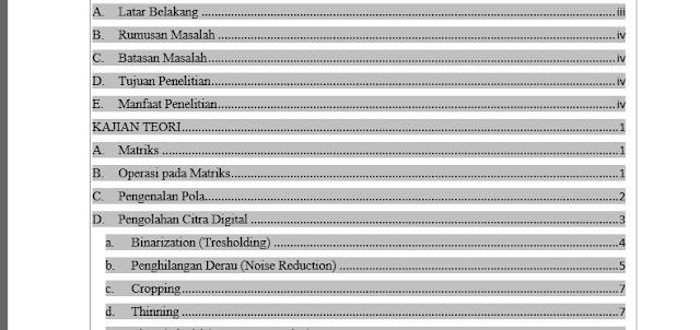 Hasil daftar isi otomatis yang tidak dikerjakan secara manual