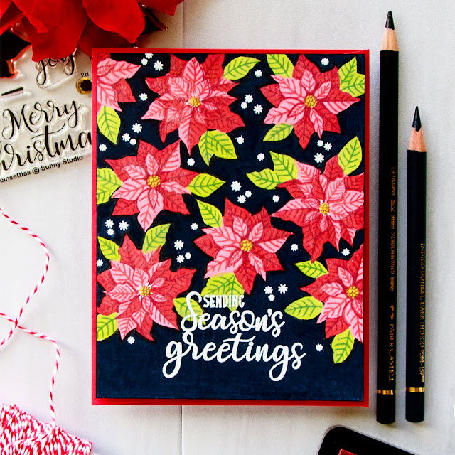Single Layer Petite Poinsettia & Festive Greetings Christmas Card with Video Tutorial by Yana Smakula