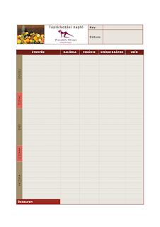Letölthető táplálkozási napló