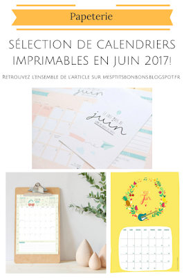 selection de calendriers juin 2017