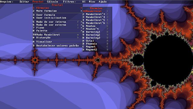 Menu de fórmulas fractais com o Xaos no Ubuntu Linux 16.04 LTS
