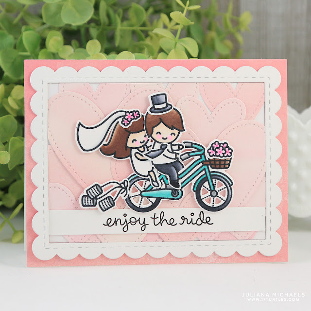 Wedding Card by Juliana Michaels featuring Lawn Fawn Bicycle Built For Two Stamp Set, Watercolor Petite Paper Pack and Stitched Hearts Stackables Die Set