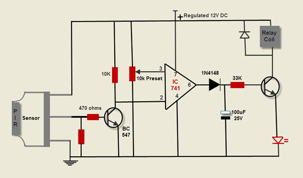الدائرة الالكترونية لمستكشف الحركة بـحساس PIR