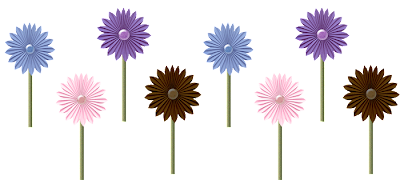 stemmed flowers row
