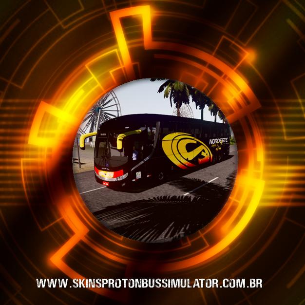 Skin Série Ouro Urban Road Oficial - Comil Invictus 1200 Scania K400IB 6X2 Expresso Nordeste 50 Anos