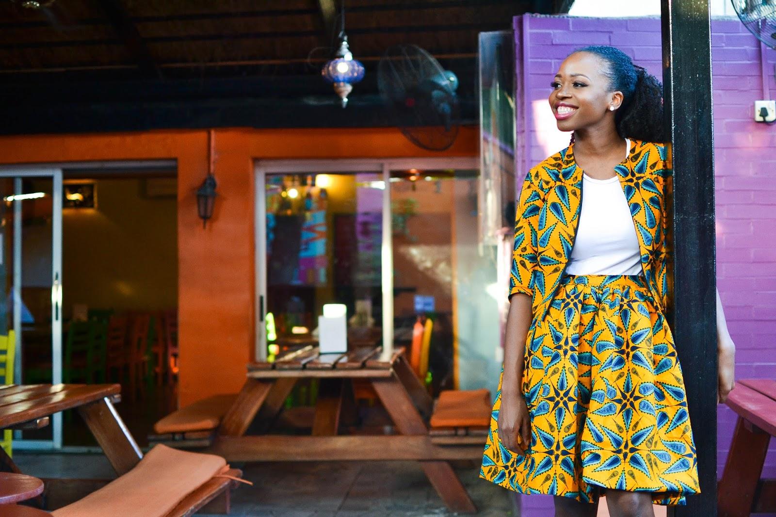 Ankara Skirt Suit on a Black Fashion Blogger